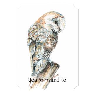 Memorial Service Invite Watercolor Barn Owl