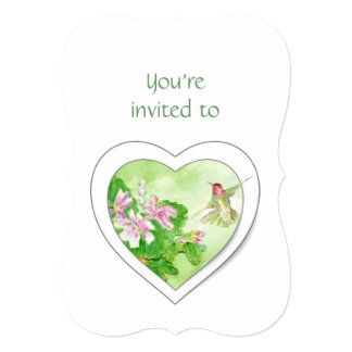"Memorial Service Invite Watercolor Hummingbird 5"" X 7"" Invitation Card"