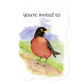 Memorial Service Invite Watercolor Robin Bird