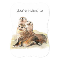 Memorial Service Invite Watercolor Seals Animals
