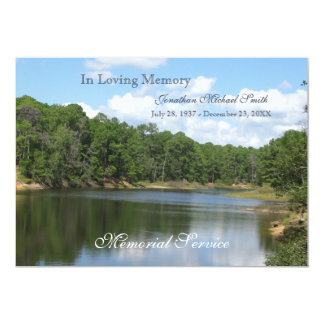 "Memorial Service Lake Announcement Invitation 5"" X 7"" Invitation Card"
