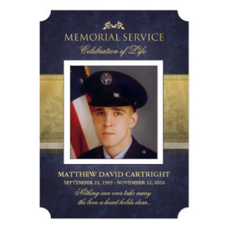 Memorial Service Navy Blue & Gold Elegance Invite