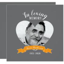 Memorial service photo heart orange ribbon invites