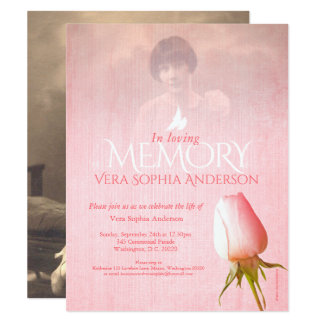 Memorial service photo pink rose funeral invites