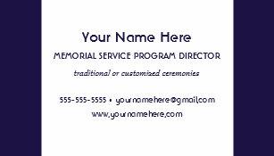 memorial service program director elegant blue business card