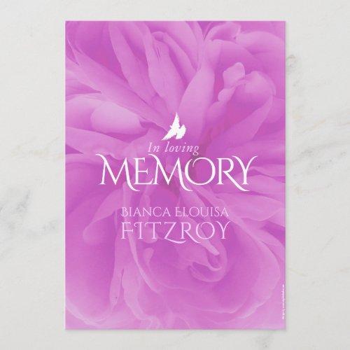 Memorial service purple rose funeral program