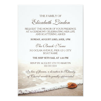 Captivating Amazing Memorial Service | Seashell On The Beach Card Ideas Memorial  Service Invitation Sample