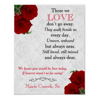 Memorial Sign 2 - Deep Red Rose Wedding
