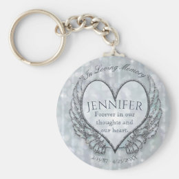Memorial | Silver Angel Wings and Heart Keychain