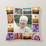 "Memorial Sympathy Photo Collage Keepsake Throw Pillow<br><div class=""desc"">I created this pillow in honor of my grandma who passed away at age 102. Upload a large square photo to the center of the pillow. Twelve smaller square photos surround the center photo. You will need square shaped photos for this pillow. Let me know if you need help with...</div>"