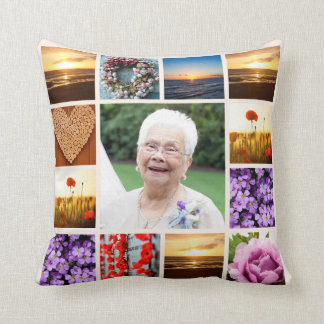 Memorial Sympathy Photo Collage Keepsake Throw Pillow
