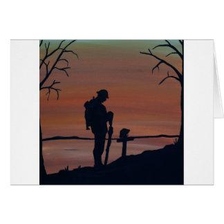 Memorial, Veternas Day, silhouette solider at grav Card