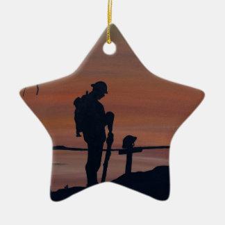 Memorial, Veternas Day, silhouette solider at grav Ceramic Ornament