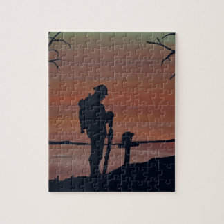 Memorial, Veternas Day, silhouette solider at grav Jigsaw Puzzle