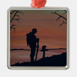Memorial, Veternas Day, silhouette solider at grav Metal Ornament