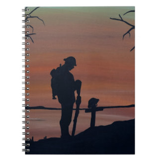 Memorial, Veternas Day, silhouette solider at grav Notebook