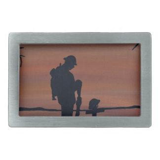 Memorial, Veternas Day, silhouette solider at grav Rectangular Belt Buckle