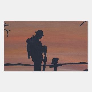 Memorial, Veternas Day, silhouette solider at grav Rectangular Sticker