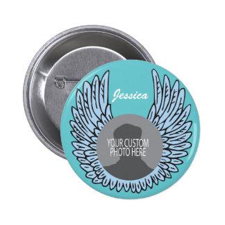 Memorial Wings Keepsake custom photo Button