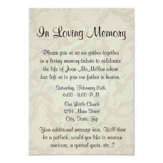Memorial With Angel Wings And Heart Card Invitation For Funeral Ceremony
