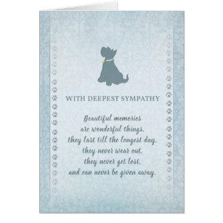 Memorias hermosas de la condolencia del perro de tarjeta de felicitación