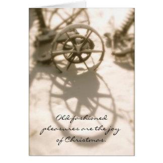 Memorias pasadas de moda del navidad del tractor tarjeta de felicitación