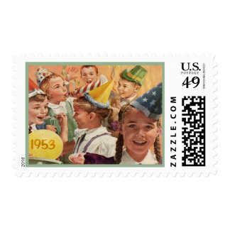Memorias retras 1953 de la niñez de la fiesta de sellos postales