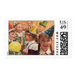 Memorias retras de la niñez del vintage de la timbres postales