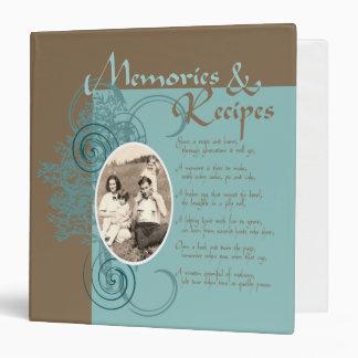 Memories and Recipes Teal & Brown 3 Ring Binder