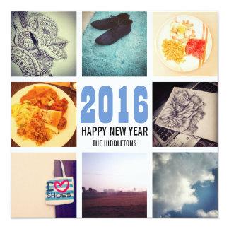 Memories Instagram Photo Collage 2016 Blue White Invitation