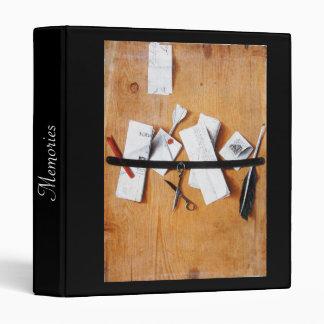 MEMORIES/ LETTER HOLDER IN WOOD black brown white 3 Ring Binders
