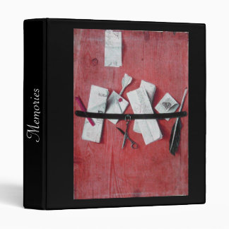 MEMORIES/ LETTER HOLDER IN WOOD black red white 3 Ring Binder