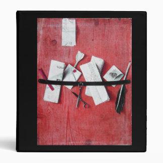MEMORIES/ LETTER HOLDER IN WOOD black red white 3 Ring Binders