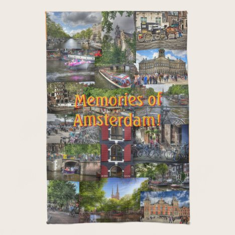 Memories of Amsterdam Photo Collage Kitchen Towel