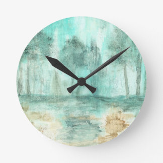 Memory Abstract Art Landscape Trees Painting Round Clock