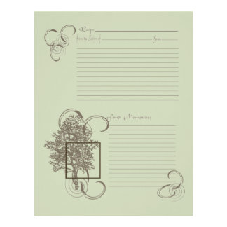 Memory and Recipe Page Letterhead Template