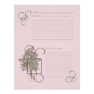 Memory and Recipe Page Personalized Letterhead