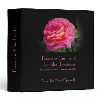 Memory Book, Pink Rose Forever in our Hearts 3 Ring Binder