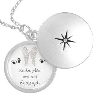 Memory chain of star twins round locket necklace