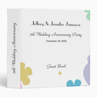 Memory/Guest Book, 5th Wedding Anniversary Party 3 Ring Binder