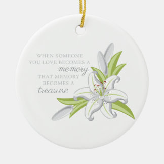 Memory Lily Double-Sided Ceramic Round Christmas Ornament
