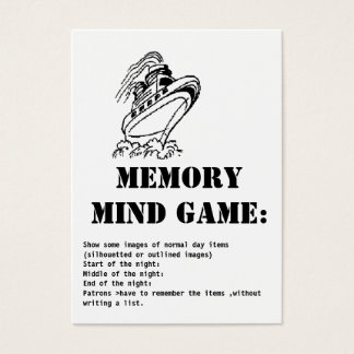 memory mind game-Cruise ship Business Card