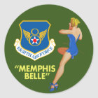 """""""Memphis Belle"""" 8th Air Force Classic Round Sticker"""