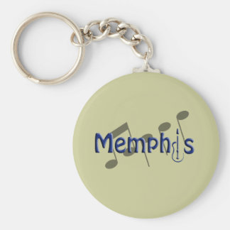 memphis blue with music notes basic round button keychain