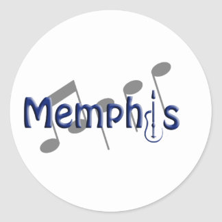 memphis blue with music notes classic round sticker