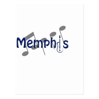 memphis blue with music notes postcard