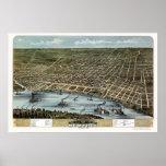 Memphis, mapa panorámico del TN - 1870 Poster