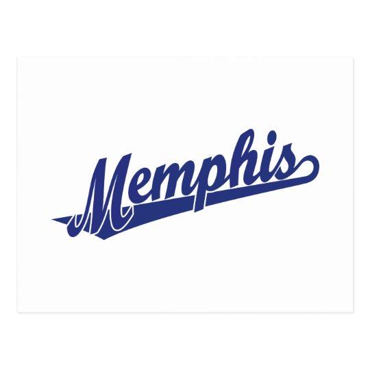 Memphis script logo in blue postcard