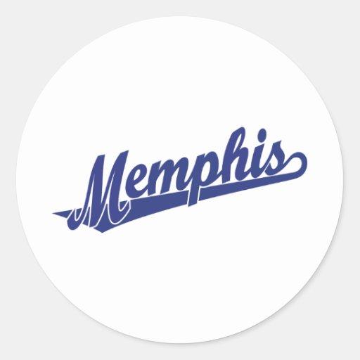 Memphis script logo in blue sticker