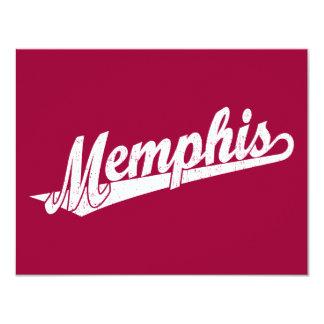 Memphis script logo in white distressed card